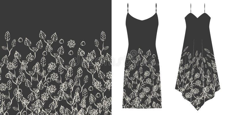 Nahtloses mit Blumenmuster Rebecca 6 Unterwäschekonzept Horizontal nahtlos stock abbildung