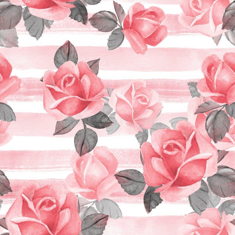 Nahtloses mit Blumenmuster Rote Rosen des Aquarells stock abbildung