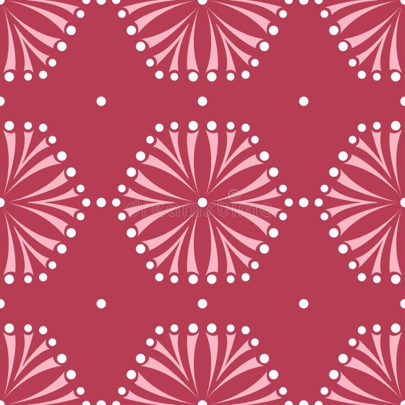 Nahtloses mit Blumenmuster Roter farbiger Hintergrund lizenzfreie abbildung
