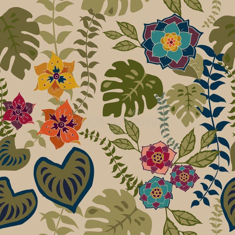 Nahtloses mit Blumenmuster Tropival, Herbstblumen tauchen Muster-Hintergrund-romantisches Blumenwiederholungs-Muster für Textilen vektor abbildung