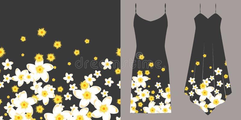 Nahtloses mit Blumenmuster Unterwäschekonzept Horizontal nahtlos vektor abbildung