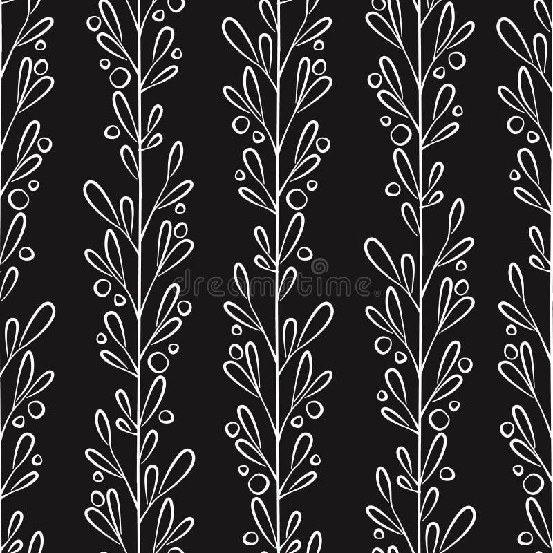 Nahtloses mit Blumenmuster mit vertikalen Niederlassungen und Blättern Lokalisiert auf Wei? stock abbildung