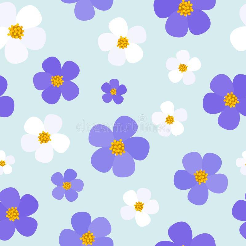 Nahtloses mit Blumenmuster mit violetten Blumen vektor abbildung