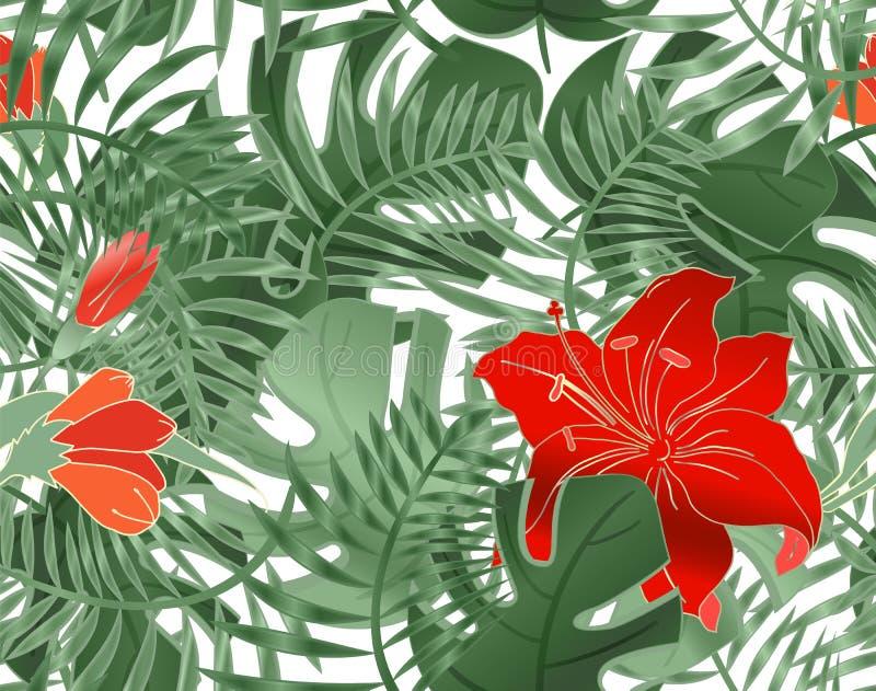 Nahtloses mit Blumenmuster von Blattmonstera, -hibiscus und -v?geln Tropische Anlagen, Bl?tter der Palme Nahtloses Sommermuster vektor abbildung