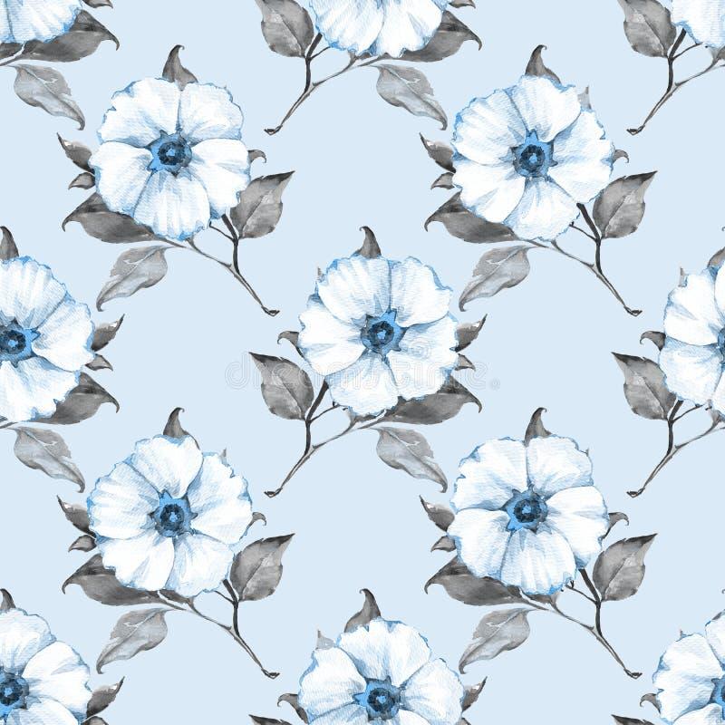 Nahtloses mit Blumenmuster mit weißen Blumen 1 lizenzfreie abbildung