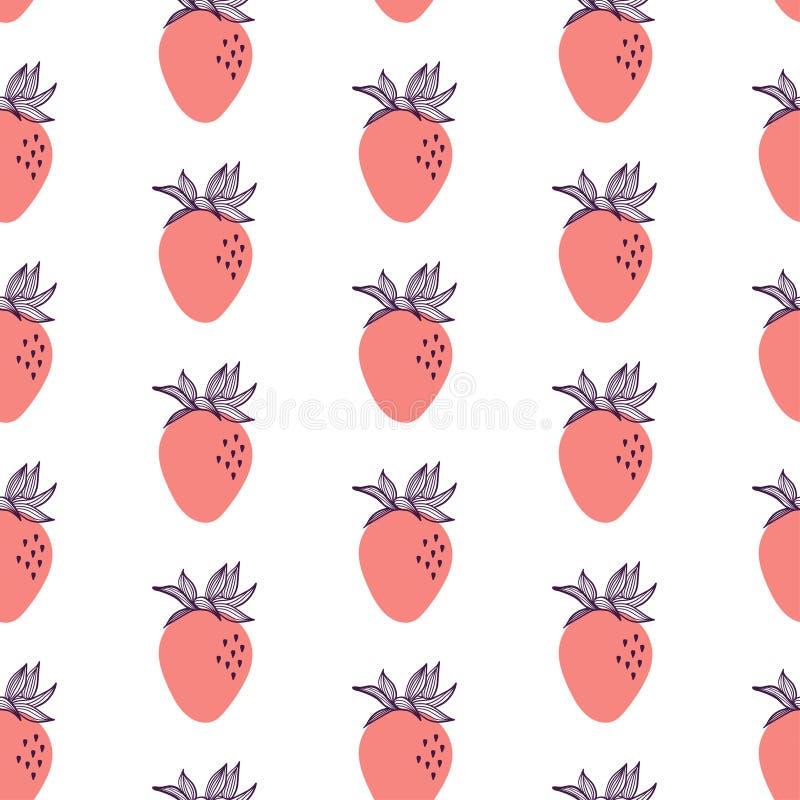 Nahtloses Modemuster von roten Erdbeeren Vektorhandgezogene Illustration eingestellt in moderne modische flache Art für Netz, Dru stock abbildung