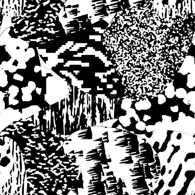 Nahtloses modernes strukturiertes, einfarbiges Schmutzmuster Hintergrund mit grafischer Schwarzweiss-Verzierung stock abbildung