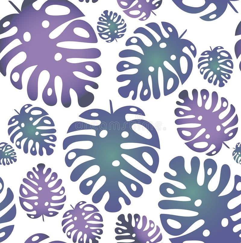 Nahtloses modisches Muster des Vektors mit tropischen Blättern auf dem weißen Hintergrund stock abbildung