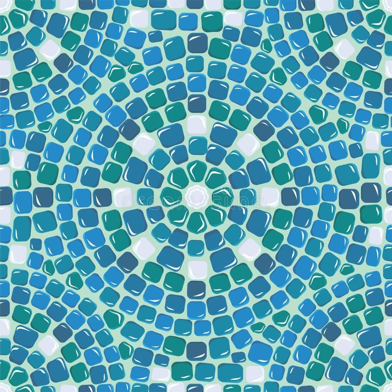 Nahtloses Mosaikmuster - blauer Keramikziegel lizenzfreie abbildung