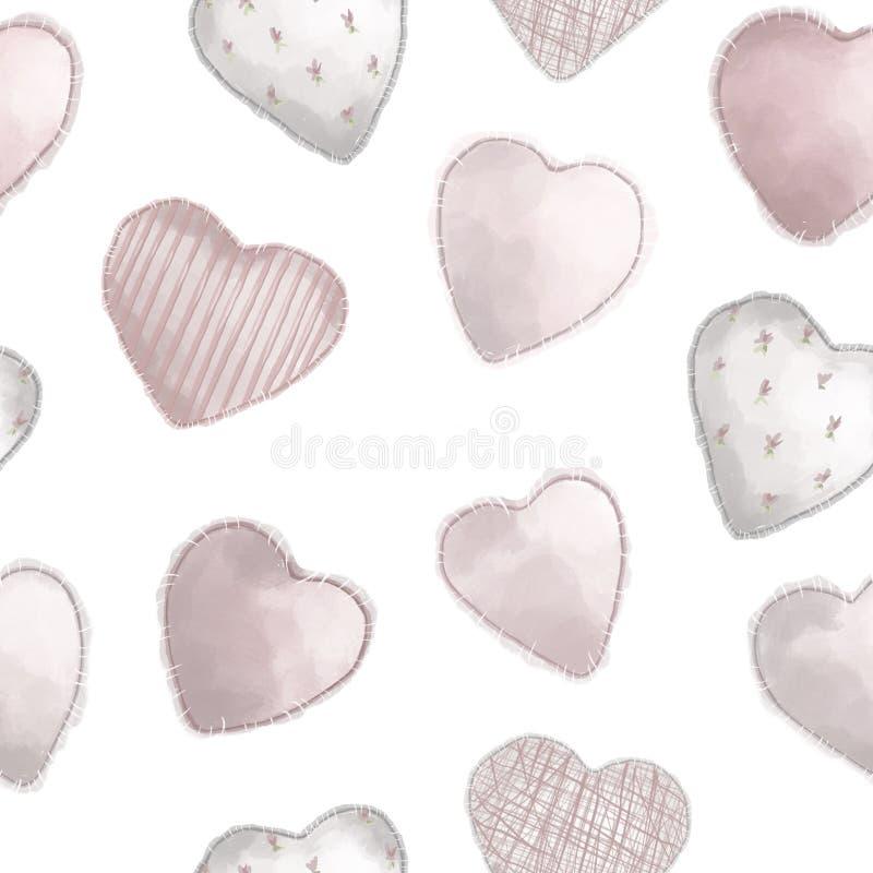 Nahtloses Muster Abbildung in der japanischen Art verschiedene Herzen auf dem flachen weißen Hintergrund lizenzfreie abbildung