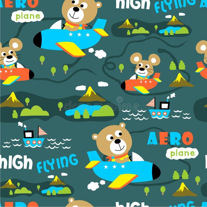 Nahtloses Muster, aero flache lustige Tierkarikatur, Vektorillustration stock abbildung