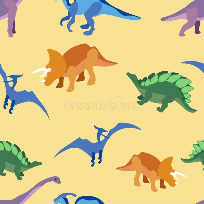Nahtloses Muster, alte Tiere, Drachen Im flachen Raster unbedeutender Art Karikatur stock abbildung