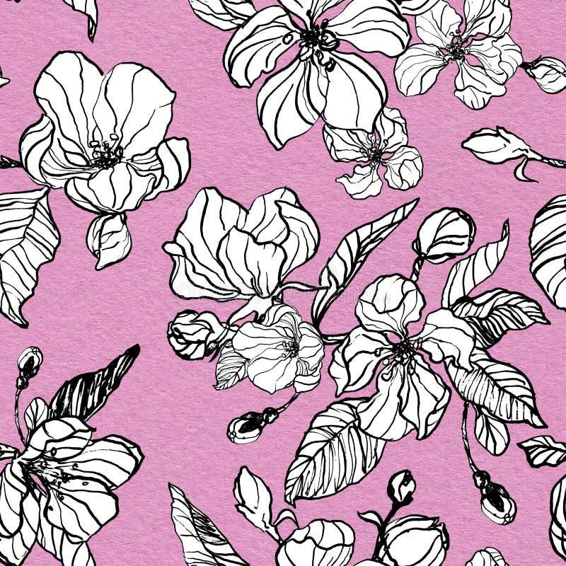 Nahtloses Muster Apple- oder Kirschblüte Handgemalte Tintenillustration mit Frühlingsblumen auf rosa strukturiertem Hintergrund vektor abbildung