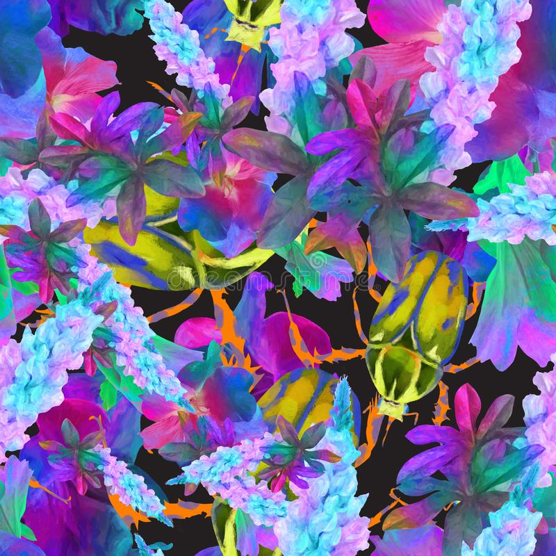 Nahtloses Muster, Aquarellblumenhintergrund, Muster f?r den Druck auf Gewebe, Tapete, h?bsche Blumen Pfingstrose, Hortensie lizenzfreie abbildung
