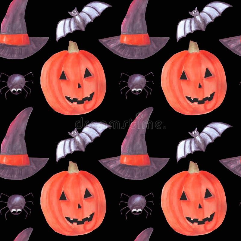 Nahtloses Muster Aquarellhalloweens mit Kürbis-, Schläger-, Spinnen- und Hexenhut stock abbildung