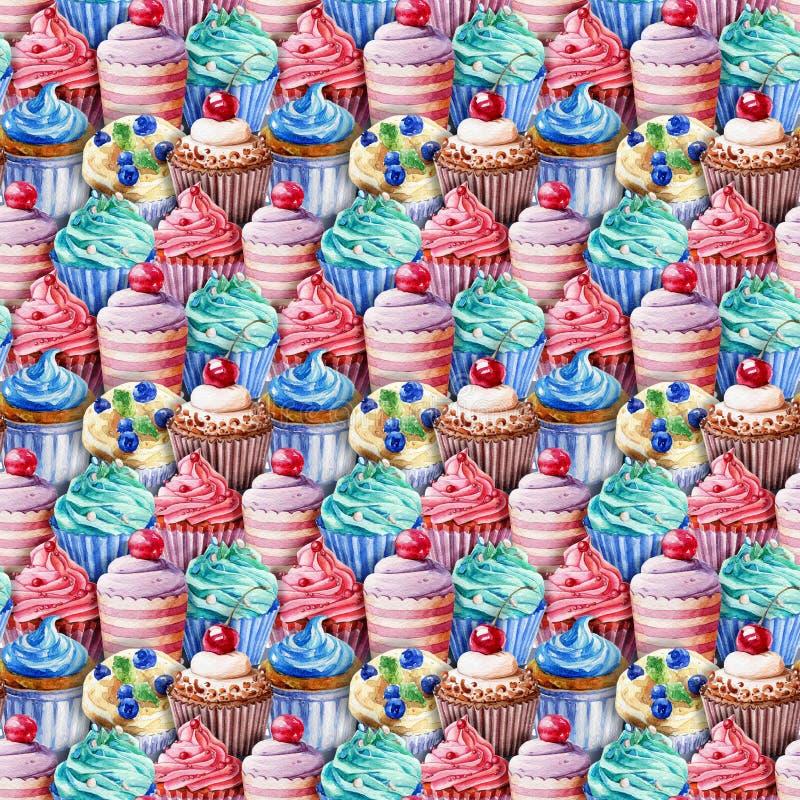 Nahtloses Muster Aquarellkleine kuchen, Muffins stock abbildung