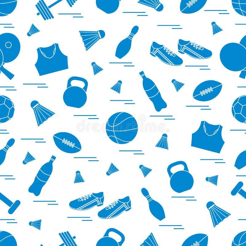 Nahtloses Muster auf dem Sportthema Vektorillustrationssport- und -eignungsausr?stung Reihe Sport- Muster vektor abbildung