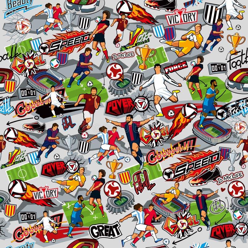 Nahtloses Muster auf dem Thema des Fußballs Fußballattribute, Fußballzahlen von verschiedenen Teams auf einem grauen Hintergrund vektor abbildung