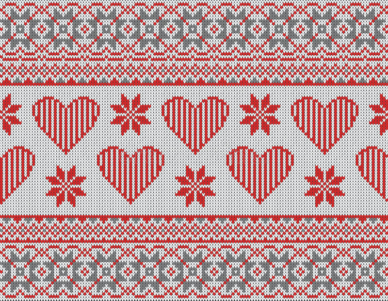 Nahtloses Muster auf dem Thema des Valentinstags mit einem Bild der Norwegermuster und -herzen Wolle gestrickt stock abbildung