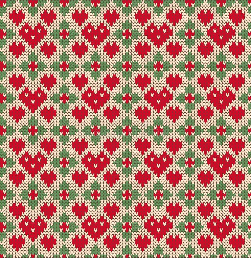 Nahtloses Muster auf dem Thema des Valentinstags mit einem Bild der Norwegermuster und -herzen Wolle gestrickt vektor abbildung