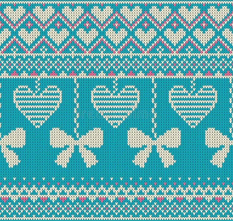 Nahtloses Muster auf dem Thema von Feiertag Valentinsgruß ` s Tag mit einem Bild der Norweger- und fairislemuster Weißbögen und h vektor abbildung