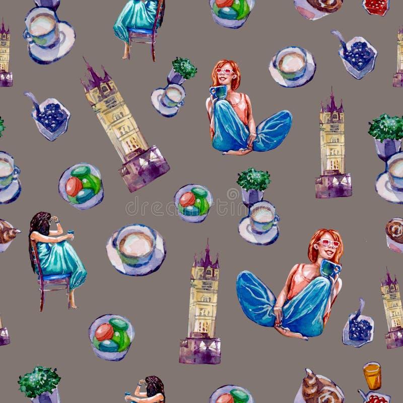Nahtloses Muster auf einem London-Thema auf einem grauen Hintergrund stock abbildung