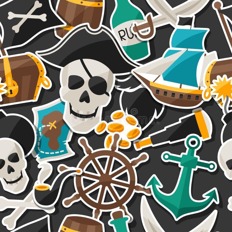 Nahtloses Muster auf Piratenthema mit Aufklebern und stock abbildung