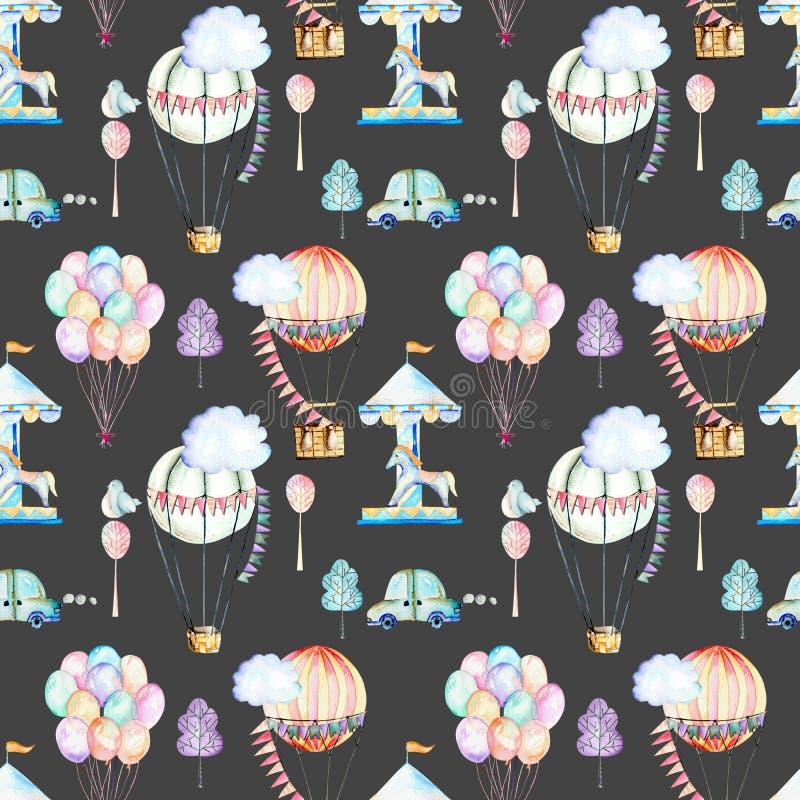 Nahtloses Muster auf Wochenendenthema; Aquarellluftballone, Luftfahrzeuge, Karussell und Autos stock abbildung