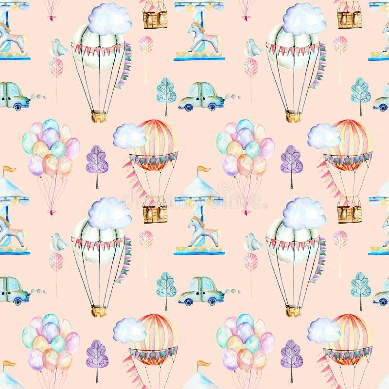 Nahtloses Muster auf Wochenendenthema; Aquarellluftballone, Luftfahrzeuge, Karussell und Autos vektor abbildung