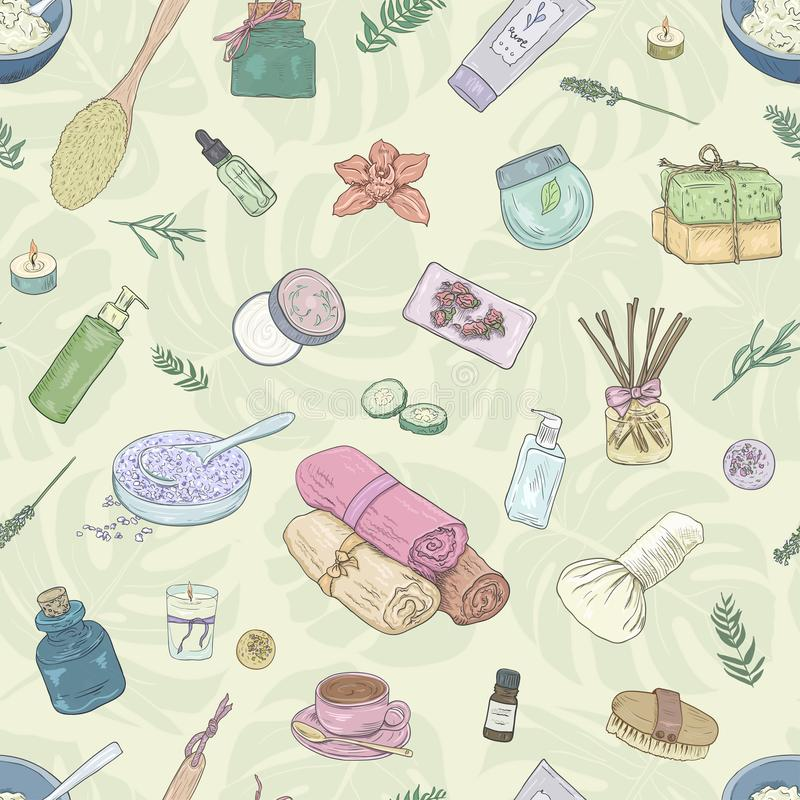 Nahtloses Muster Bearbeiten Sie Anmerkungen, den studierenden Hintergrund, kreativer Lebensstil Hand gezeichnete Illustrationsfra stock abbildung