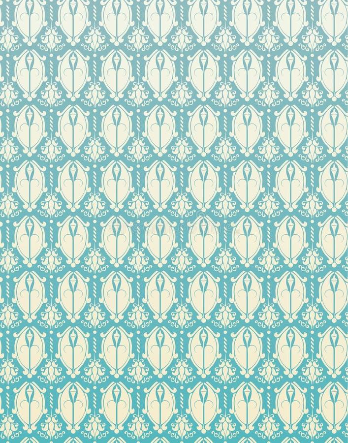 Nahtloses Muster-blaue Retro- Damast-Blume Backgrou stock abbildung