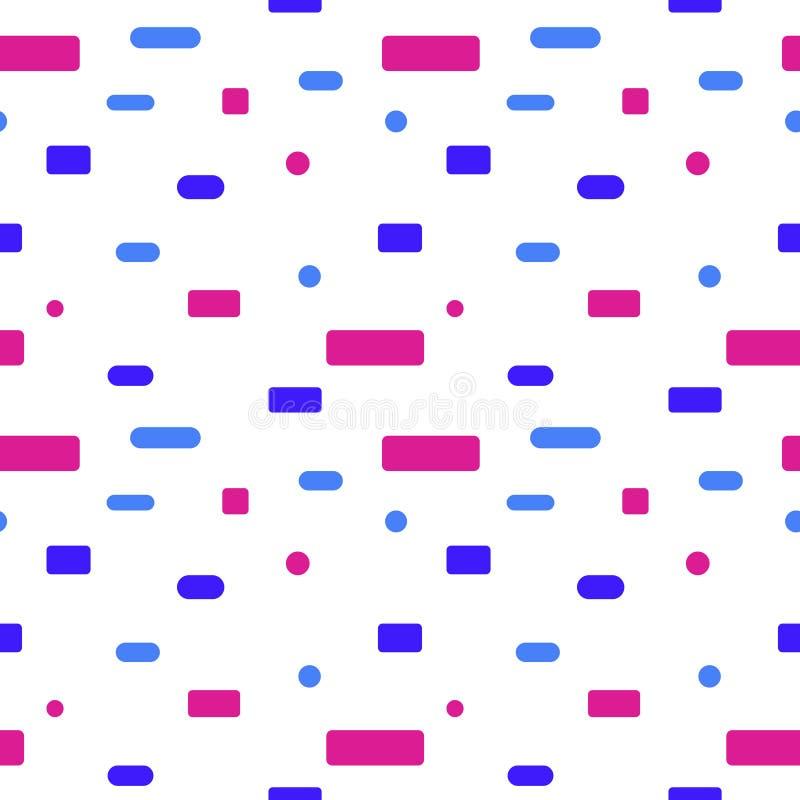 Nahtloses Muster Blaue und rosa Rechtecke auf einem weißen Hintergrund stock abbildung