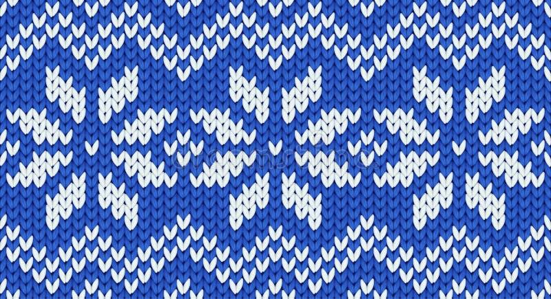 Nahtloses Muster blauen Vektor realistischen Knit mit weißen Schneeflocken und Zickzackverzierung vektor abbildung