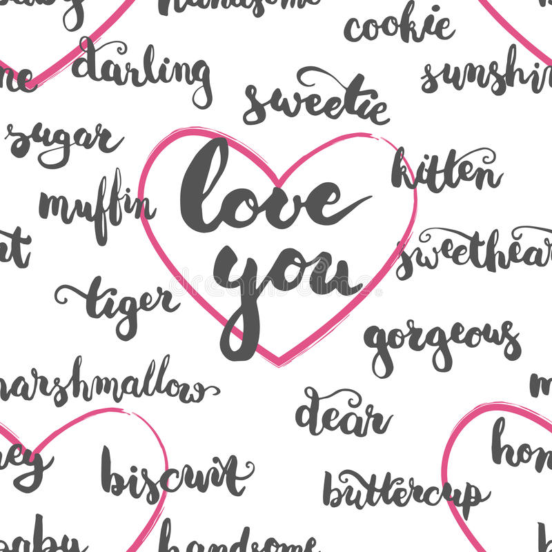 Nahtloses Muster brushpen liebevollen Spitznamen der Beschriftung und der Kalligraphie für Ihren Lebensgefährten vektor abbildung