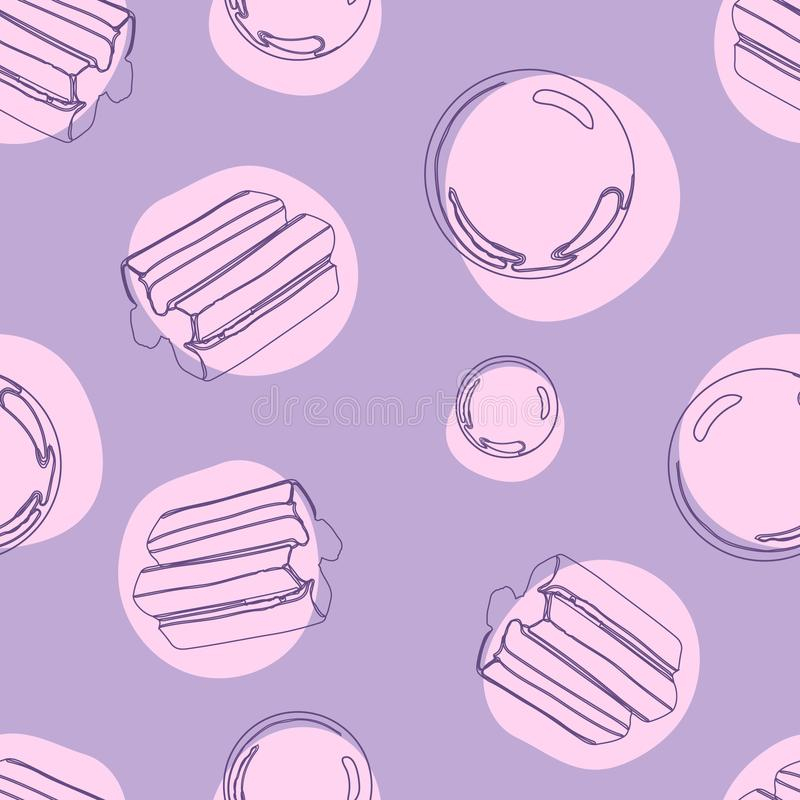 Nahtloses Muster Bubblegum mit süßem Süßigkeitshintergrund der Explosion lizenzfreie abbildung
