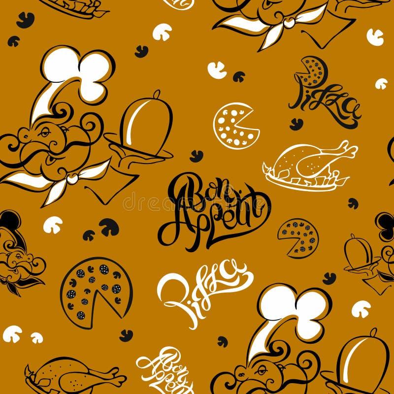 Nahtloses Muster chef Küchenthema firmenzeichen koch Bon Appetit Pizza Stilvolle Beschriftung Auch im corel abgehobenen Betrag lizenzfreie abbildung