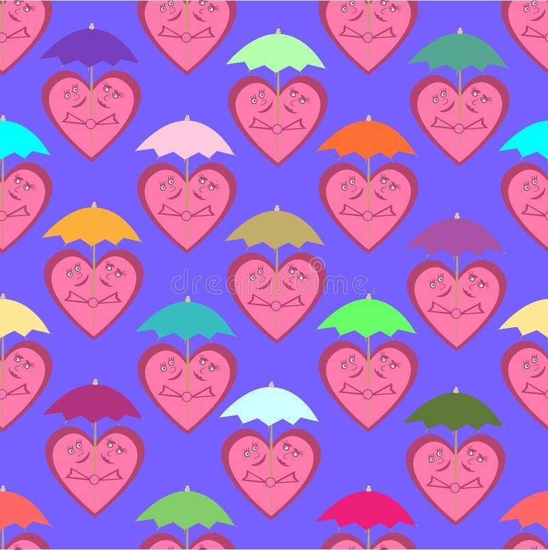 Nahtloses Muster, das aus frohen Herzen unter buntem um besteht vektor abbildung
