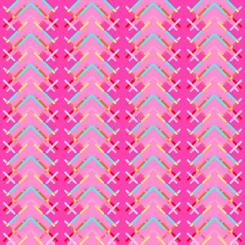 Nahtloses Muster - dekorative Stickerei mit geometrischer Zeichnung vektor abbildung