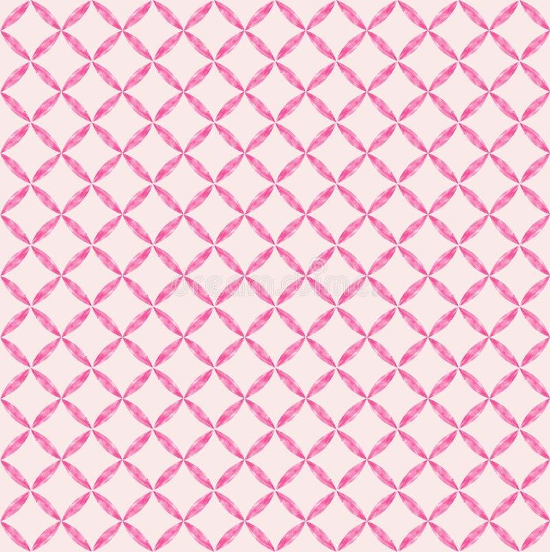 Nahtloses Muster dekorativen und girly geometrischen whatercolor Effektes in drei Tönen des Rosas lizenzfreie abbildung