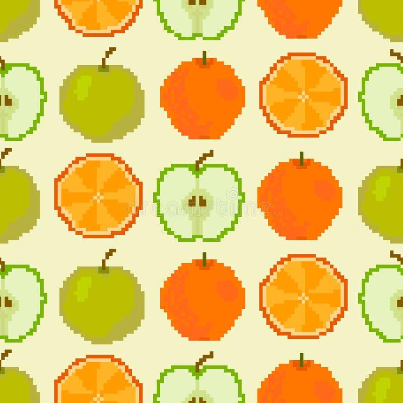 Nahtloses Muster der Äpfel und der Orangen Pixelstickerei vektor abbildung