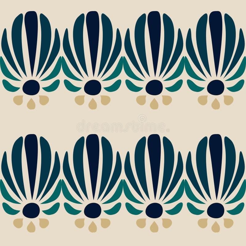 Nahtloses Muster der abstrakten blauen Blume vektor abbildung