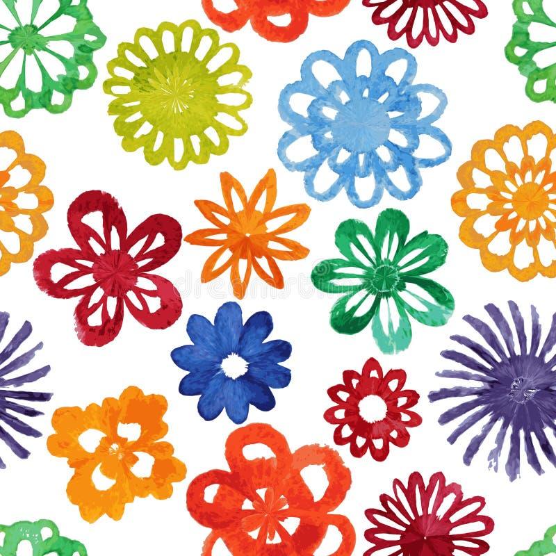 Nahtloses Muster der abstrakten Blume des Aquarells. stock abbildung