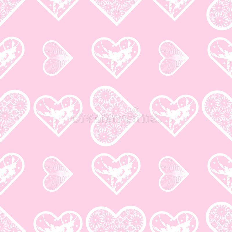Nahtloses Muster der abstrakten Spitzeherzen Liebes-Druck vektor abbildung
