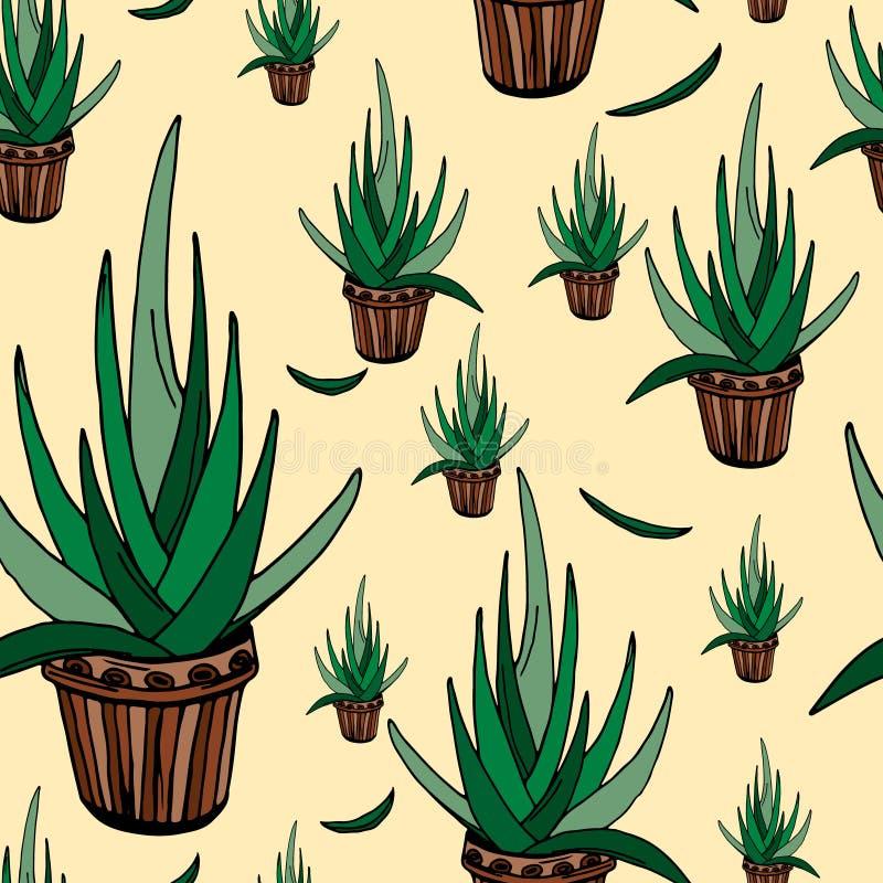 Nahtloses Muster der Aloe lizenzfreie abbildung