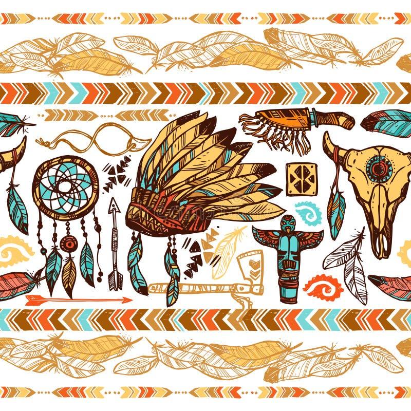 Nahtloses Muster der amerikanischen Ureinwohner lizenzfreie abbildung