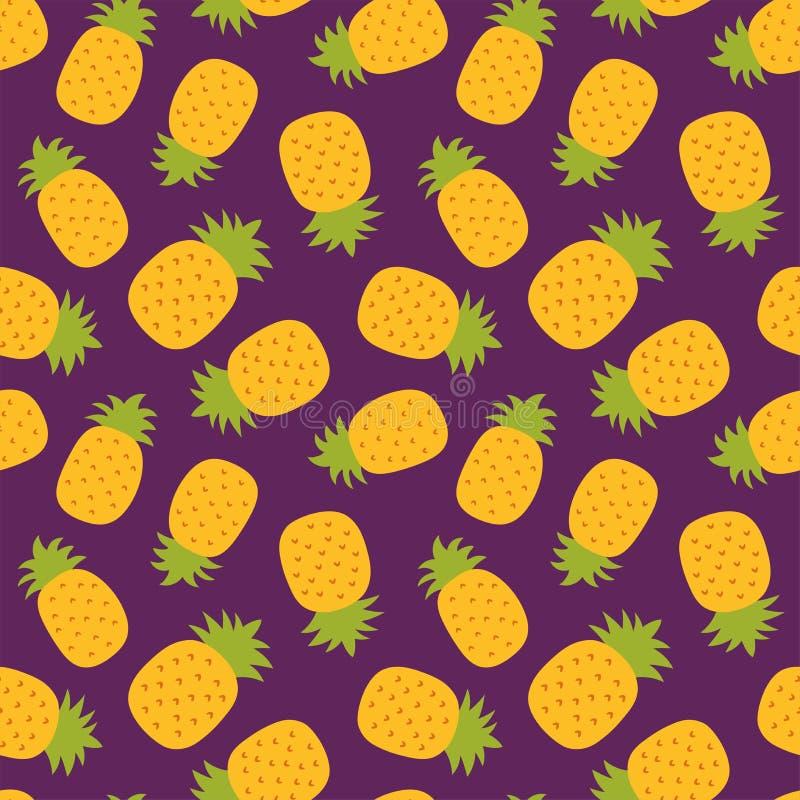Nahtloses Muster der Ananas Handgezogene frische Ananas Vektorskizzenhintergrund Farbgekritzeltapete Exotische tropische Frucht lizenzfreie abbildung