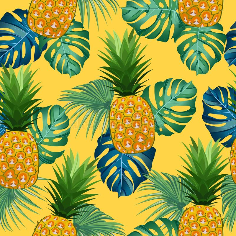 Nahtloses Muster der Ananas mit tropischen Blättern auf gelbem Hintergrund Sandy-Strand und -Sonnenbrille Ananasfrüchte lizenzfreie abbildung