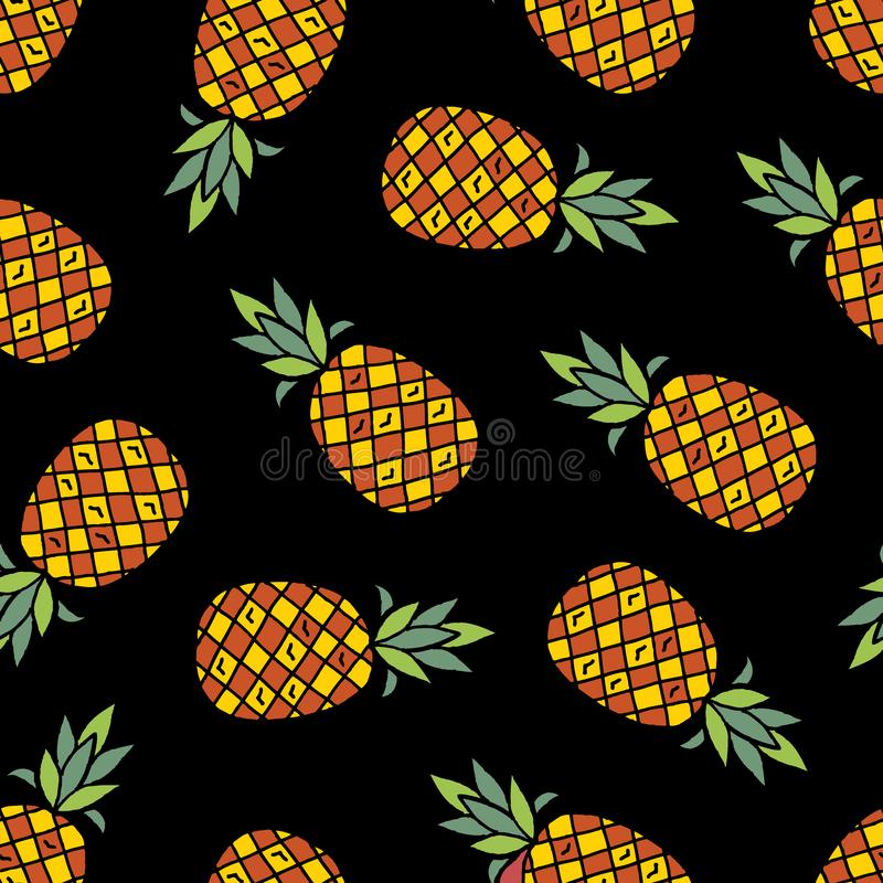 Nahtloses Muster der Ananaskarikatur vektor abbildung