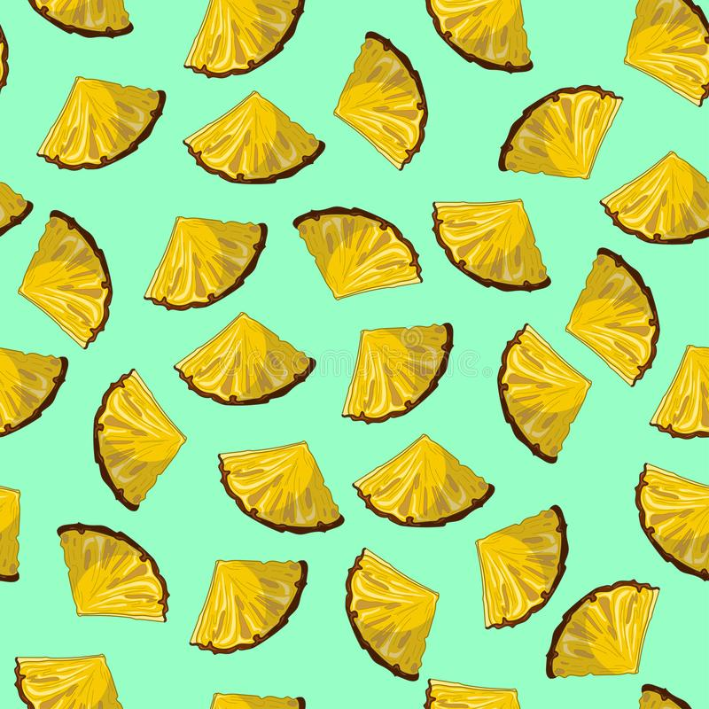 Nahtloses Muster der Ananasscheibe auf Knickente Bleu backgroun stock abbildung
