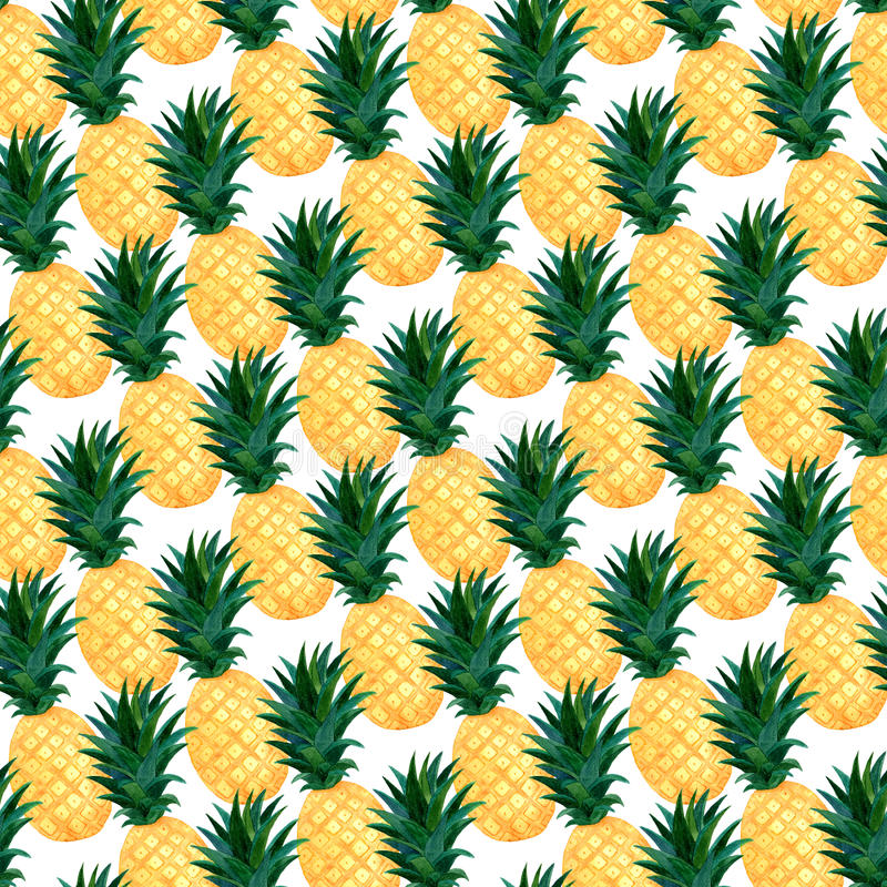 Nahtloses Muster der Aquarellananas Modesommer-Tapetendesign lizenzfreie abbildung